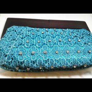 Fantastic Evening clutch with dark wood handle NWT